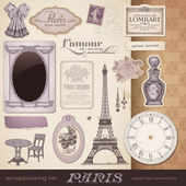 Paris set - romantic ephemera — Stock Vector