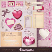 Valentines vintage set — Stock Vector