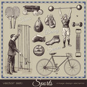 Sports - collection of retro elements — Vettoriale Stock