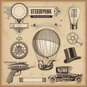 Conjunto de elementos de design do steampunk — Vetor de Stock