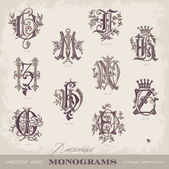 Embroidered monograms — Vector de stock