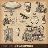 Steampunk design elements — Stock Vector