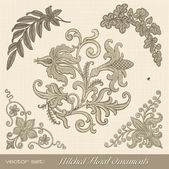 Stitched floral ornaments — Vecteur