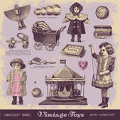 Vintage toys - girls' collection — Vettoriale Stock
