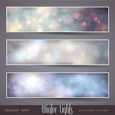 Winter bokeh banners — Stock Vector