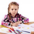 Child - artist paints picture - Stock Photo