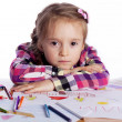 Child - an artist with a sketch — Stock Photo