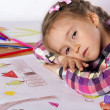Stock Photo: Tired child - artist with sketch