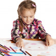 Child - artist paints picture — Stock Photo