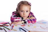 Barn - konstnär med en skiss — Stockfoto