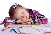 Spanie dziecka - artysta z szkic — Zdjęcie stockowe