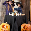 Two little witches - Stock Photo