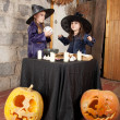 Stock Photo: Two little witches