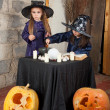 Foto Stock: Two little witches