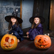 Two little witches — ストック写真