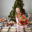 The girl with a gift under the Christmas tree — Stock Photo #14232651