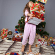 Stock Photo: The girl with a gift under the Christmas tree