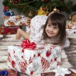 The girl with a gift under the Christmas tree — Foto de Stock