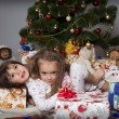 Stock Photo: Two girls with gift under Christmas tree