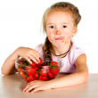 Stock Photo: Child with bowl fresh strawberries