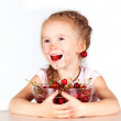 Stock Photo: Child with bowl fresh cherry