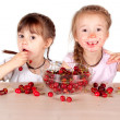 Two little girls with a full bowl of cherry — Stock Photo #17353791