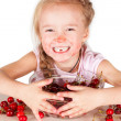 Royalty-Free Stock Photo: A child with a bowl fresh cherry