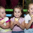 Happy children group with ice cream outdoor — Stock Photo