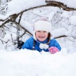 Wonderful child in the snowy woods — Stock Photo #46732775