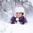 Wonderful child in the snowy woods — Stock Photo #46732781