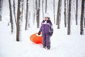 Wonderful child in the snowy woods — Foto de Stock