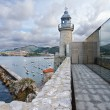 Lighthouse and port of Castro Urdiales, Spain. - Stock Photo