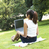 Woman Working with Computer Sitting in the Park. — Stock Photo