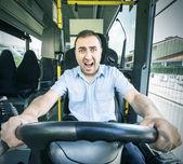 Busfahrer mit angst gesicht. — Stockfoto