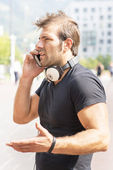 Man discusses by mobile. — Stock Photo