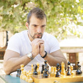 Portrait of pensive man chess opponent. — Stock Photo