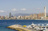 Views of west beach Benidorm, Alicante, Spain. — 图库照片