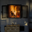 Stock Photo: Burning fireplace