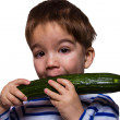 Boy with cucumber — Stock Photo
