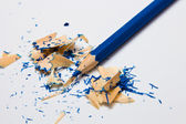 Color pencill with sharpening shavings — Stock Photo