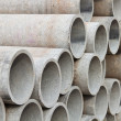 Stacked concrete pipes — 图库照片