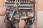 Repair of household water heater — Stock Photo