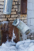 Melting of ice in spring city — Stock Photo
