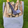 Bag for firewood — Stock Photo