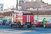 Fire truck on the road — Stock Photo