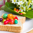 Thai's colorful desserts eat with bread. - Stock Photo