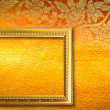 Gold picture frame on the golden thai pettern. — Stock Photo