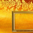 Gold picture frame on the golden thai pattern. — Stock Photo