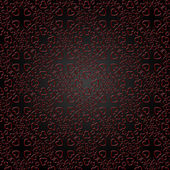 Red heart pattern on a black background. — Stock Photo