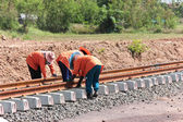 Workers were building a railway. — Stock Photo